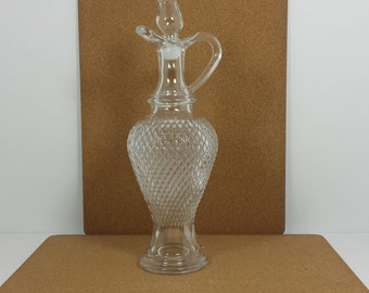 Vintage Diamond Pattern Pressed Glass Wine Decanter and Stopper Made in Les Verres, Italy