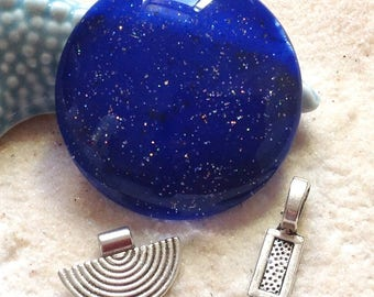 50mm Midnight Blue cabochon spangled + 1 free bail /PEINT hand / large magnifying glass cabochon / Bohemian pendant / cosmic