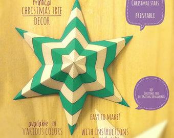 Christmas stars, DIY, printable, Christmas decor, diy Christmas ornaments, Christmas art, holiday decor, stars, 4 Christmas tree, GREEN