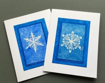 Snowflake blues blank cards (set of 2), embossed on hand-painted papers, individually handmade: A2, let it snow, SKU BLA21051