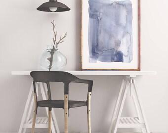 Blue Wall Art, Large Abstract Art Print, Navy Blue Painting, Abstract Art, Watercolor Wall Art, Blue Abstract Painting, Large Print, Minimal