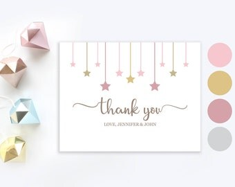 Twinkle twinkle little star thank you cards   Personalized Baby Shower Thank You card   Gold and pink girl baby shower thank you card