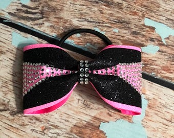 Small Hot Pink And Black Rhinestone Glitter Tailless Cheer Bow