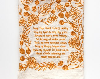 PREORDER Hymn Tea Towel Come Thou Fount teacher gift ideas mothers day gift art print christian wall art botanical print kitchen towels