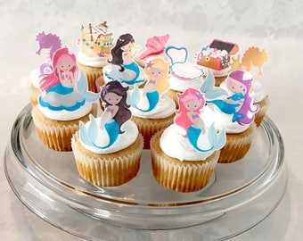 Mermaid Cake Topper | Edible Decorations | Cupcake Toppers | Birthday Party | Smash Cake | Girls Birthday Party | Treasure