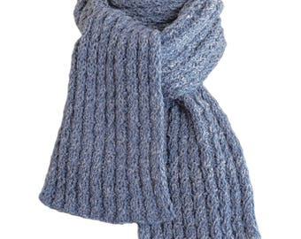 Hand Knit Scarf - Denim & Lace Wool Cable Rib
