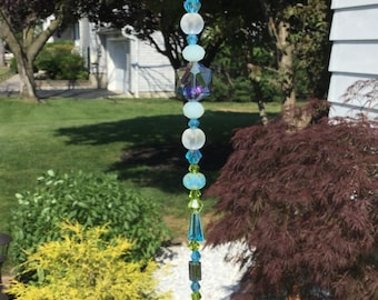 Free Shipping - Energy To The Soul - Blue/Green Crystal Prisms/Suncatchers/Blue/Green Swarovski Crystal Prismsm/Suncatchers/Feng Shui Prisms