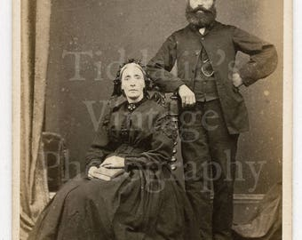 CDV Photo Victorian Couple Husband & Wife, Fantastic Beard Portrait by Brading Co. of Newport Wales - Carte de Visite Antique Photograph