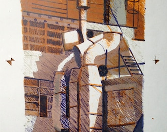 London, 1980, Thames Industrial building. Original Lithograph 1of 6