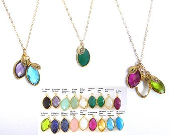 Mothers Necklace Initial Necklace Personalized Birthstone Gemstone Mom gift for her Cascading Necklace Grandma Necklace Family Tree Necklace