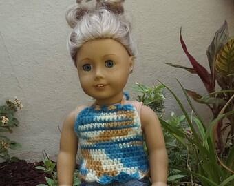 Handmade Caribbean Blue Ombre crocheted HALTER TOP for 18in dolls