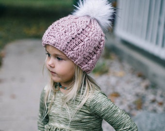 Toddler Crochet Hat With Pom Pom Pink Hat for Girls Child Beanie