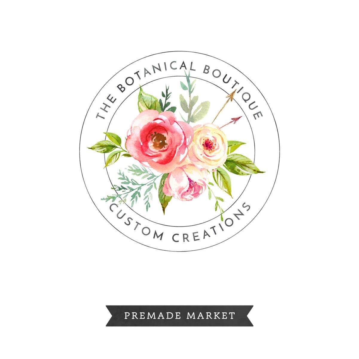 Watercolor Floral Logo Premade Circle Branding Stamp