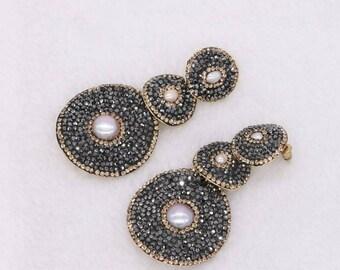 Pave earrings, drop earrings, diamond earrings, druzy stone, statement earrings