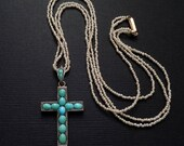 Antique Victorian PERSIAN Turquoise CROSS Pendant, Baby Seed PEARL Necklace, Religious Jewelry, Ladies Womens Wife Gift for Her