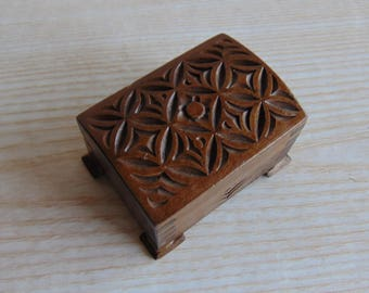 Vintage Hand Carved Wooden Jewellery Box, Wooden Chest for jewelry,