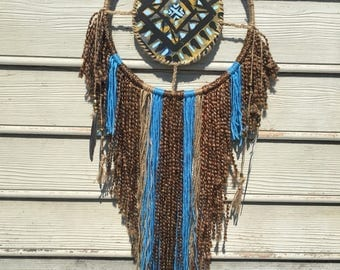Native american inspired hand painted handmade canvas wall art boho hippie western dreamcatcher