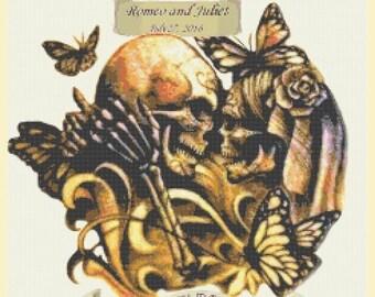 Romeo and Juliet Sugar Skull Cross Stitch Pattern Pdf cross stitch Couples - 236 x 236 stitches - INSTANT Download - B1216