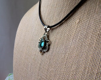 Blue Topaz Crystal Pendant Cord Necklace//Crystal Necklace//Topaz Necklace//Cord Necklace//Silver Jewelry//Filigree Necklace//Gift//Leather
