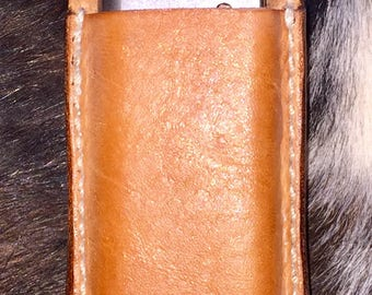 """Saddle tan leather 1911 .45 single mag pouch w belt loop for belts 1.75"""" & smaller."""