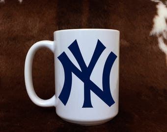 NY Yankee mug, 15 oz mug, gift item, coffee mug, baseball fan, New York, gift for her, gift for him,