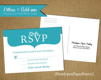 Custom Wedding Postcard RSVP,4x6,USPS Regulation Size,Designed to Match,Front Color Print,Back Black Print,Return Address,Matching Paper