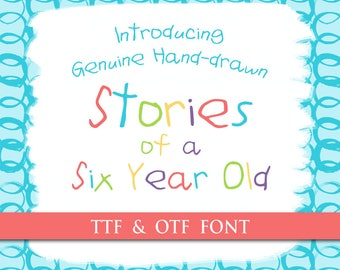 Child Handwritten Font - Genuine Handwriting Stories of a Six Year Old Digital Typeface OTF TTF Hand Drawn Kids Font Childrens Craft Letter