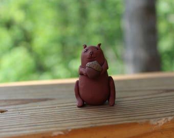 Squirrel Figurine - Handmade Squirrel Figurine - Polymer Clay Figurine - Animal Figurine -Hand Sculpted Squirrel - Polymer Clay Squirrel