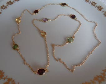 Long gold chain, 585 gold filled, citrine, Garnet, Amethyst