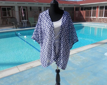 Kimono, Caftan, Swimsuit Cover-up, Beach Cover-up, Lounge Wear, Cover- up,Navy Blue & White Kaftan