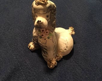 Vtg, ceramic poodle, standard poodle, textured porcelain, knick knack, dog figurine,  collectible dog