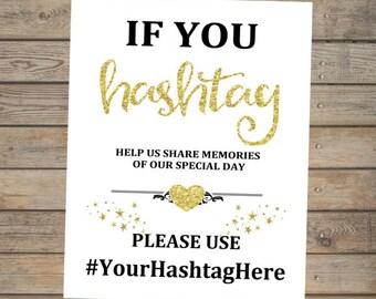 If You Hashtag Wedding Sign, Hashtag Printable Wedding Art, Gold or Silver Wedding Decor, Printable Gold Glitter Effect Hashtag Sign, DIY