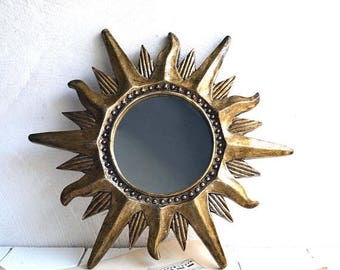 25% SALE Small Vintage French Gold Sun Burst Resin Mirror