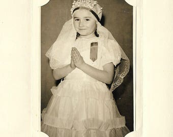 First Communion - Vintage 1950s Black and White Photograph in Presentation Wallet