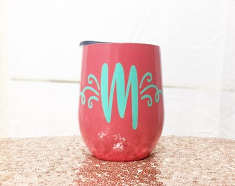 Metal Wine Tumbler - Swig Wine Tumbler - Bachelorette Party Favors - Wine Glass - Stemless Wine Glass - Monogram Wine Glass