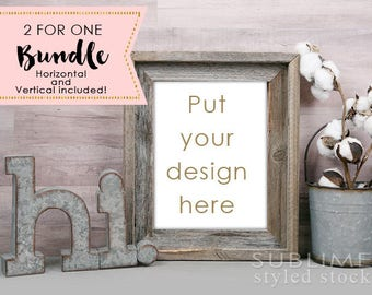 Frame Mock up / Styled Stock Photo / Wall Art Display / Wood Frame / Styled Empty Frame / Print Display / Blank Frame / StockStyle-860