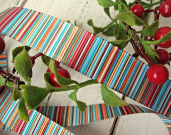 2 Yards - Double Sided Stripe Grosgrain Ribbon in Muted Red Blue Green and Gold