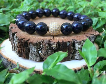 Blue Sandstone(10mm) + 18k Gold Plated Pave Bracelet