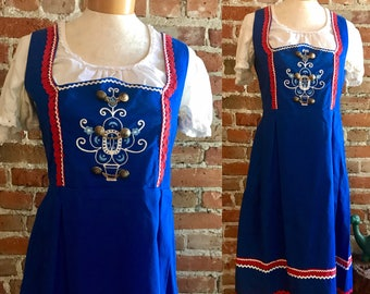 Vintage Oktoberfest Bavarian Dirndl Costume Dress, Alpen Style Dress, Austrian Bavarian Folk Dress, German Barmaid Dress