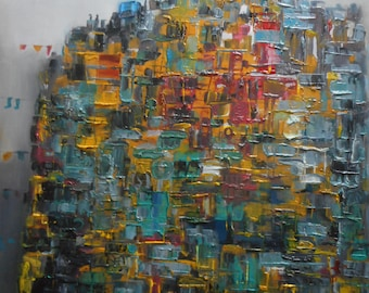 "Original Abstract Oil Painting by Nalan Laluk: ""City Suspended"""