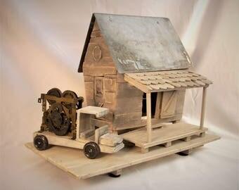 Tin Roof...  Rusted... Folk Art Farm Building And Clock Gear Truck