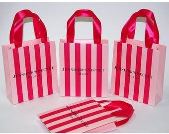 Personalized Bridesmaid's gift bags with satin ribbon handles and custom names, Victoria secret pink Bridal Bachelor party gifts and favors