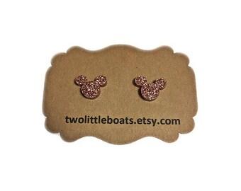 Rose gold sparkle disney stud earrings, Mickey Mouse jewelry, glitter earrings, nickel free