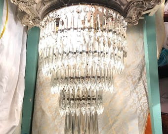 "Gorgeous Gothic Victorian Antique Crystal Chandelier Lighting Flush Mount ""Wedding Cake"" 5 Tiers of crystals prisms"