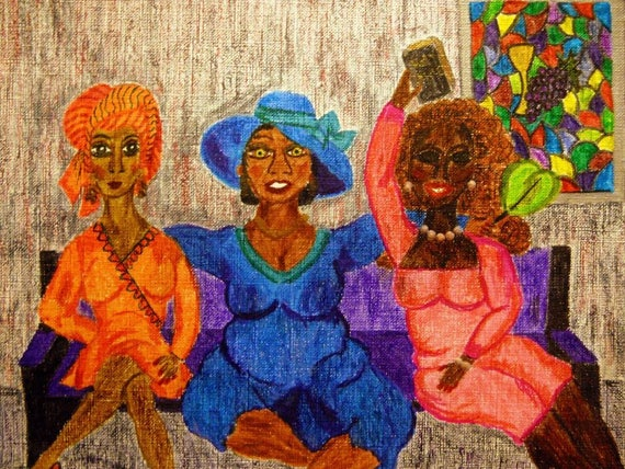 "Archival PRINT of Original Painting, ""TELL IT!"" from 2014 Church Ladies Series, by Hoosier Artist Stacey Torres"