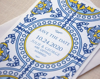 Blue and Yellow Tile Wedding Save The Dates, Lisbon Save The Date Wedding Cards, Tying the Knot Cards, Destination Wedding Save the Date
