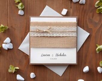 Custom Invitations, Rustic Lace Wedding Invitation Kit, Pocket Invitation, Burlap and Lace Wedding Invitation, Pocketfold Invite - SAMPLE