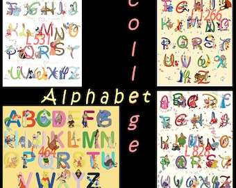 Alphabet college Cross Stitch special offer 4 patterns L464, L531, L828, L1266 Alphabet college Pattern pdf files - L1400