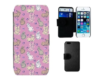 Wallet case iPhone 6S 6 8 7 Plus, SE X 5S 5C 5 4S, Samsung Galaxy wallet S8 Plus S7 S6 Edge, S4 S5 Mini, Flip cover rabbit bunny gifts. F374