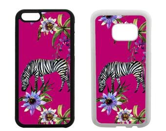 Rubber case iPhone 8 7 6S 6 Plus X SE 5S 5 5C 4S, Samsung Galaxy S8 Plus, S7 S6 Edge, S5 S4 Note 5, Zebra animal bumper phone cover R347